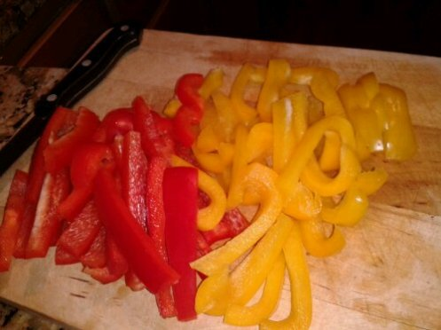Seitan, seitan sausage, bell peppers, yellow peppers, red bell peppers, peppers and onions, sausage and peppers, italian food, vegan italian, vegan sausage and peppers, vegan peppers and onions